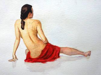 Study of body 'n white skin - watercolour by Glaubart