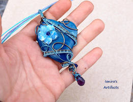 Blue Agate heart wire wrapped pendant by IanirasArtifacts
