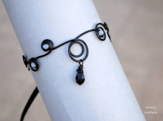 Black goth wire wrapped arm band by IanirasArtifacts