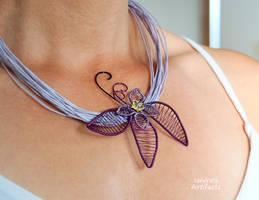 Purple flower necklace by IanirasArtifacts