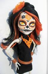monster high custom day of the dead skelita by AdeCiroDesigns