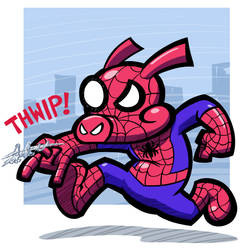 Quickie: Spider-Ham by hooksnfangs