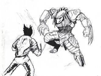 Wolverine Fighting Predator by Bigboss400