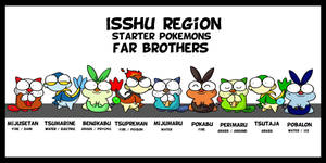 isshu starter pokemon brothers by c4tman