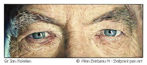 Sir Ian Mckellen - ballpoint pen art by ArtisAllan