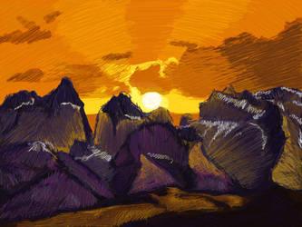 Sunset Landscape Drawing by ElaineG