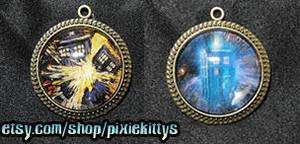 Dr Who Tardis Pendants by pixiekitty