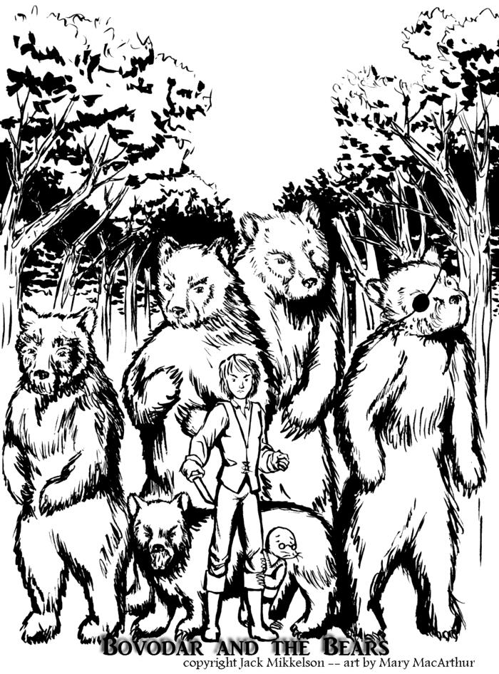 Bovodar and the Bears - ink by FireFiriel