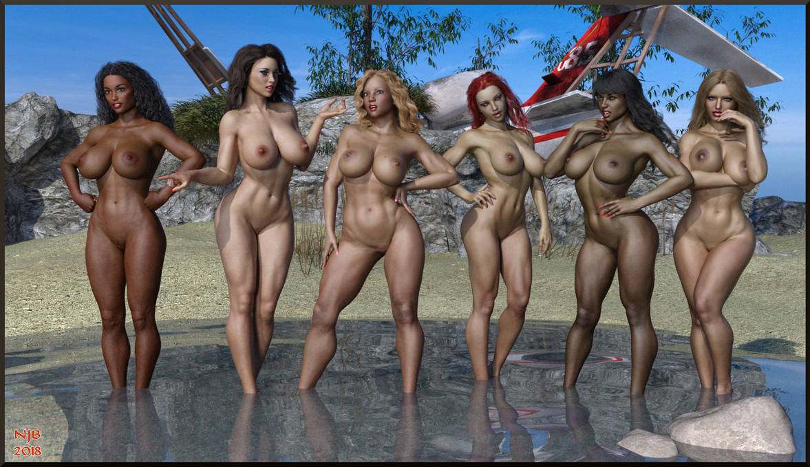 Naked Girls on a Beach by Nathanomir