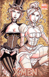 Steampunk Jean Grey and Emma Frost by calslayton