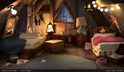 Gravity Falls 3D Render - The Twins' Room by nma-art