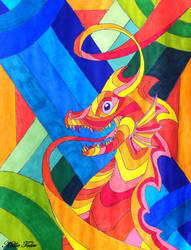 Psychedelic Dragon by DragonDrawer102