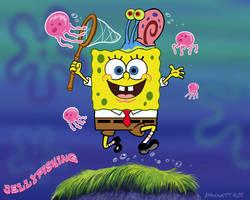 Spongebob Jellyfishing by AthenaTT