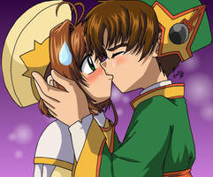 Syaoran is Kissing Sakura by cowgirlem