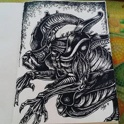 Xenomorph ink practice by cowgirlem