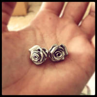 Polymer Clay rose earrings by KateBloomfield