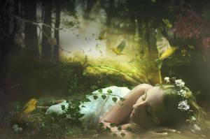 Sleeping Wood Nymph by Le-Regard-des-Elfes