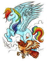 Commission - Rainbow Dash + Red-tail hawk by Kiriska