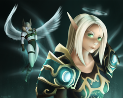 Chionee and her Val'kyr Companion by Meeshell-Art