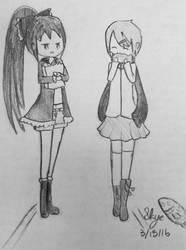Art Trade: Teuga (Rin Hoshizora and Kyoko Sakura) by CreekWhereSnowFalls