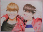 BTS V and JHope Drawing by dr12002610