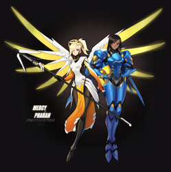 Overwatch Mercy and Pharah by ZiyoLing