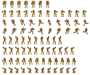 Metroid zero mission, sprite sheet, upgrade by Omegachaino