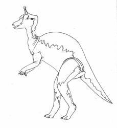 Tsintaosaurus-line art by imaginationhaven