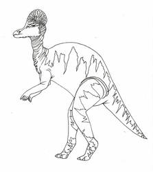 Corythosaurus-line art by imaginationhaven