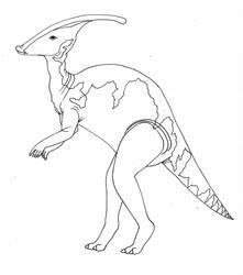 Parasaurolophus-line art by imaginationhaven