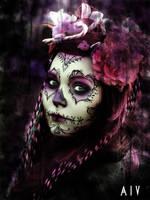 Pink Sugar Skull by AnasthaZia