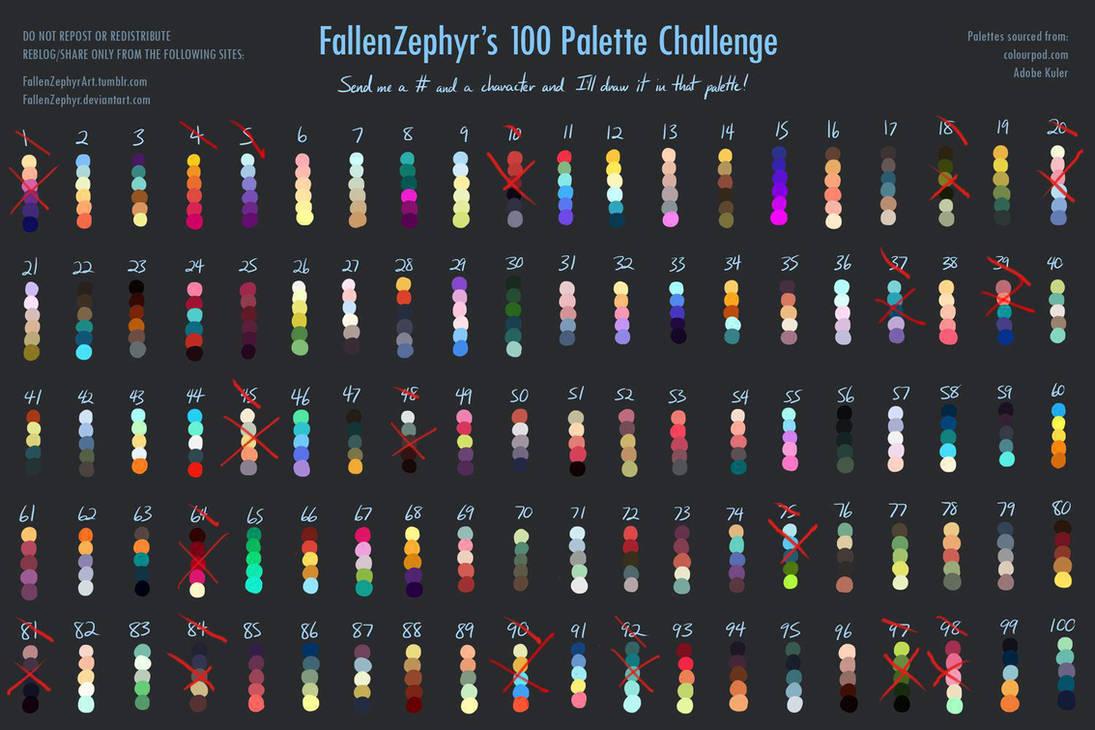 100 Palette Challenge By Fallenzephyr-avancement by Pinceau-Arc-en-Ciel
