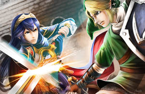 Lucina vs. Link by mingkuriboo