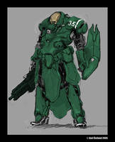 powered battle armour concept by genocidalpenguin