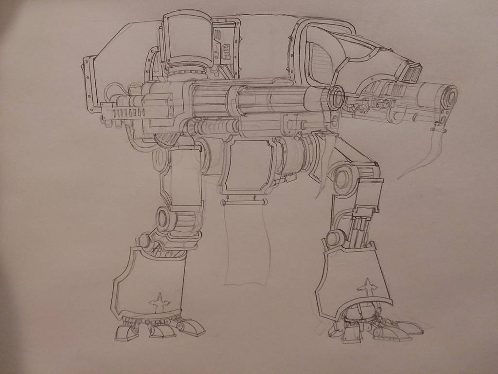 Warhound titan number two sketch by johnlincoln2