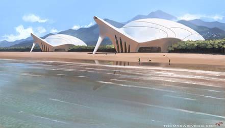 Futuristic beach by thomaswievegg
