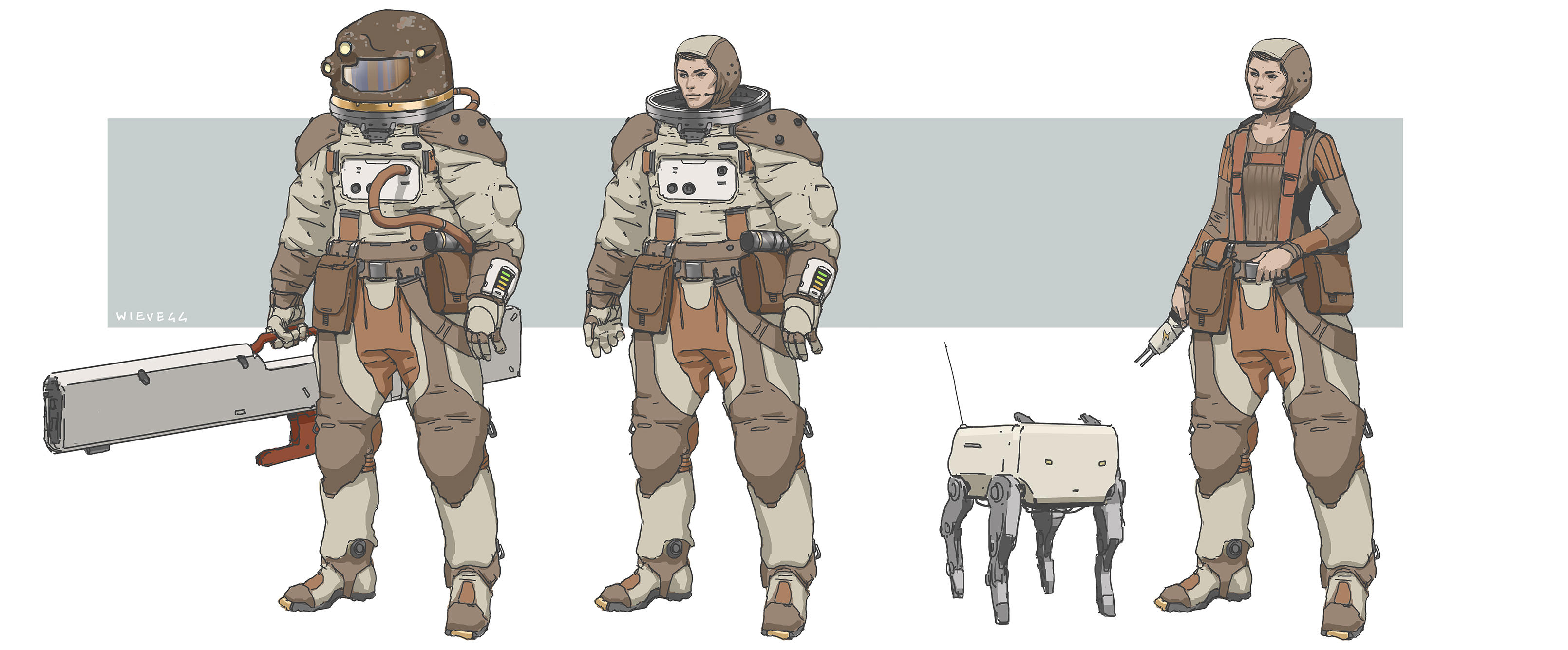 space suit character concept by thomaswievegg