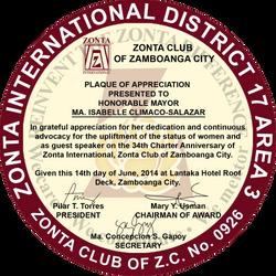 Zonta Plaque by LaVoj