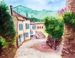 Narrow street by AlexGreenArt