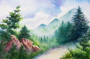 Swiss mountains by AlexGreenArt