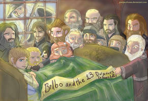 Bilbo and the 13 Dwarves (+Gandalf) by PledgeOfRoses