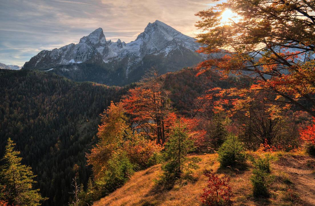 Autumn sunset by Burtn