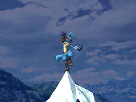 lucario standing on an iceberg by riolu-fan