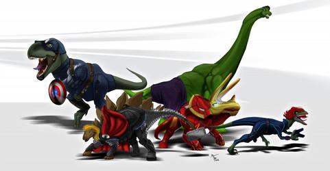 Dino-Avengers by DigitalGreen