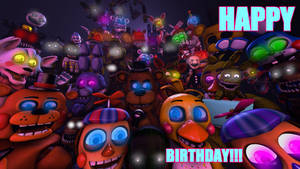 Happy Birthday FNAF!!! (SFM) by Clawort-Animations