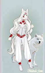 Amaterasu of Okami as a human. Version 3 by ladyphantomofmusic