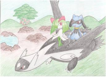 The Black Latios - Kirlia and Riolu by AquaShines
