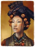 Tibetan woman by koel-art