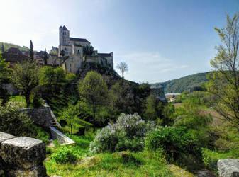 St Cirq Lapopie 07 - Full view by HermitCrabStock