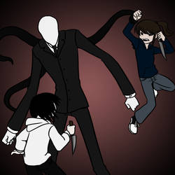 Jeff VS Slenderman VS Jane by La-Mishi-Mish